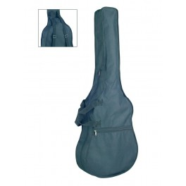 bag for classic guitar, unpadded, nylon, 2 straps, large pocket, black, 4/4 scale