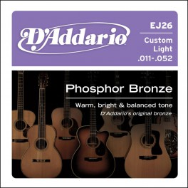 D'Addario Phosphor Bronze string set acoustic, phosphor bronze custom light, 011-015-022-032-042-052