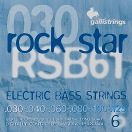 Galli Rock Star string set electric 6-string bass, nickel roundwound, light, 030-040-060-080-100-125