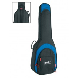 Super Packer gig bag for acoustic bass guitar, 25 mm. padding, multiple pockets, black and blue