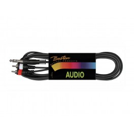 audio cable, black, 2x rca - jack stereo, 6.00 meter