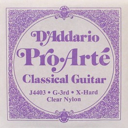 D'Addario Classics G-3 string for classic guitar, clear nylon, extra hard tension