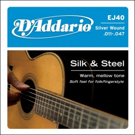D'Addario Silk & Steel string set acoustic, silverplated light, 011-014-023-028-038-047