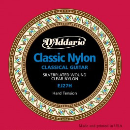 D'Addario Classics string set classic, clear nylon trebles and silverplated basses, high tension