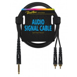 audio signal cable, 2x RCA to 6.3mm jack mono, 0.75 meter