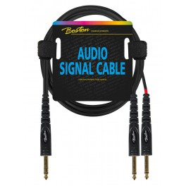 audio signal cable, 2x 6.3mm jack mono to 6.3mm jack stereo, 1.50 meter