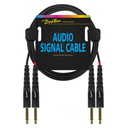 audio signal cable, 2x 6.3mm jack mono to 2x 6.3mm jack mono, 3.00 meter
