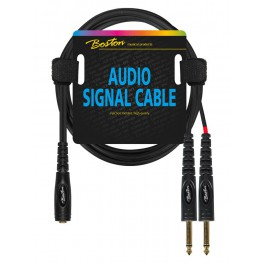 audio signal cable, 6.3mm female jack stereo to 2x 6.3mm jack mono, 3.00 meter