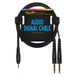 audio signal cable, 3.5mm jack stereo to 2x 6.3mm jack mono, 0.30 meter