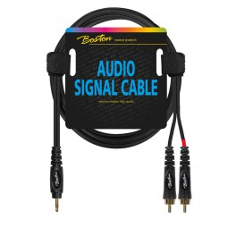 audio signal cable, 2x RCA to 3.5mm jack stereo, 0.75 meter