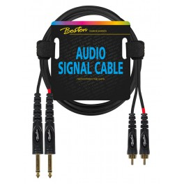 audio signal cable, 2x RCA to 2x 6.3mm jack mono, 1.50 meter