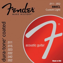 Fender Dura-Tone Coated 80/20 string set acoustic, coated bronze, custom light, 011-015-023-032-042-052