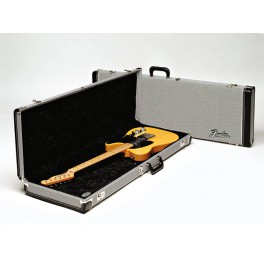 Fender deluxe case for electric guitar, leather handle and ends, black tweed & black interior