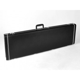 Fender deluxe case for Precision Bassᆴ, leather handle and ends, black tolex & black interior