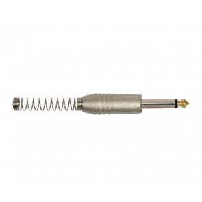 jack plug, 6,3mm, 2-pole, nickel, with spring 7,3mm