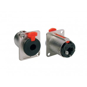 chassis connector jack, 3-pole, aluminium, 6,3mm, with lock