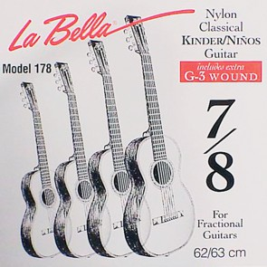 LaBella Fractional Series string set classic, clear nylon trebles & silverplated basses, extra G-3 (wound), 7/8 scale