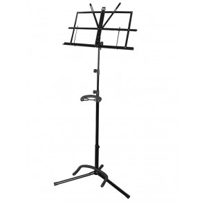 guitar stand/music stand combination, metal, black, collapsible, with sheet music retainers