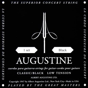 Augustine Black Label string set classic, clear nylon trebles & silverplated basses, low tension