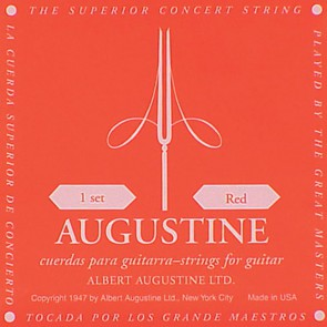 Augustine Red Label string set classic, clear nylon trebles & silverplated basses, hard tension