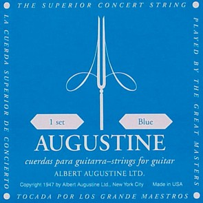 Augustine Blue Label string set classic, clear nylon trebles & silverplated basses, extra hard tension