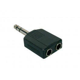 Verloop plug, 2 x 6,3 jack female stereo, 6,3mm jack male stereo