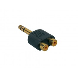 Verloop plug, 2 x RCA female, 6,3mm jack male stereo