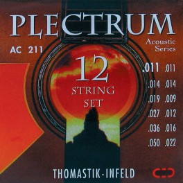 Thomastik Plectrum snarenset akoestisch 12-string, bronze flatwound, 011