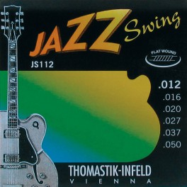 Thomastik Jazz Swing snarenset elektrisch, nickel flatwound, 012-016-020-027-037-050