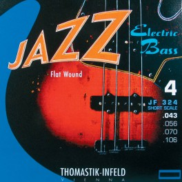 Thomastik Jazz snarenset basgitaar, nickel flatwound, 043-056-070-106, shortscale