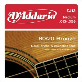 D'Addario Phosphor Bronze snarenset akoestisch, 80/20 bronze, medium, 013-017-026-035-045-056