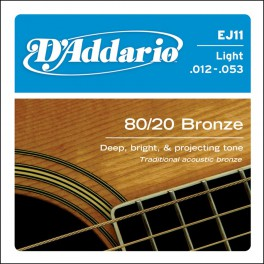 D'Addario Phosphor Bronze snarenset akoestisch, 80/20 bronze, light, 012-016-024-032-042-053