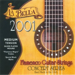 LaBella 2001 Series snarenset klassiek, professional flamenco, medium tension, black nylon trebles, silverplated basses