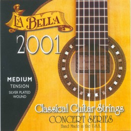 LaBella 2001 Series snarenset klassiek, professional, medium tension, clear nylon trebles, silverplated basses