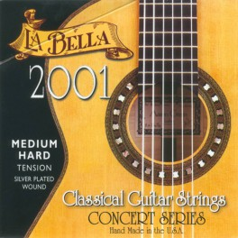 LaBella 2001 Series snarenset klassiek, professional, medium hard tension, clear nylon trebles, silverplated basses