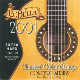 LaBella 2001 Series snarenset klassiek, professional, extra hard tension, clear nylon trebles, silverplated basses