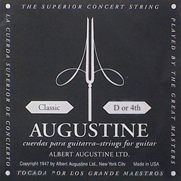 Augustine Black Label D-4 snaar voor klassieke gitaar, silverplated wound nylon, medium hard tension
