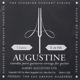 Augustine Black Label E-6 snaar voor klassieke gitaar, silverplated wound nylon, medium hard tension