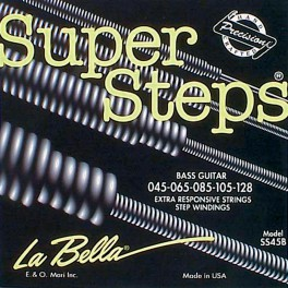 LaBella Super Steps snarenset basgitaar 5-snarig, stainless steel roundwound, light, 045-065-085-105-128