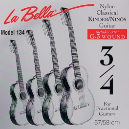 LaBella Fractional Series snarenset klassiek, 3/4 mensuur, clear nylon trebles, silverplated basses, extra G-3 (wound)