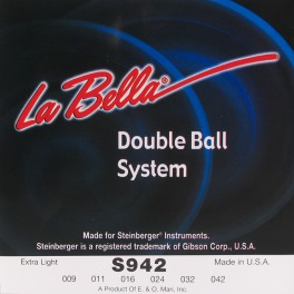 LaBella Double Ball End System snarenset elektrisch, voor Steinberger, double ball end, extra light, 009-011-016-024-032-042