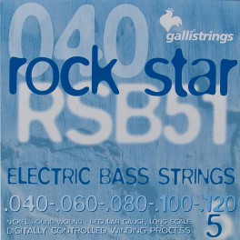 Galli Rock Star snarenset 5-snarige basgitaar, nickel roundwound, regular, 040-060-080-100-120