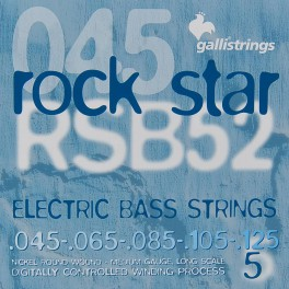 Galli Rock Star snarenset 5-snarige basgitaar, nickel roundwound, medium, 045-065-085-105-125