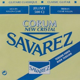 Savarez New Cristal Corum snarenset klassiek, New Cristal trebles, silverwound Corum basses, hard tension