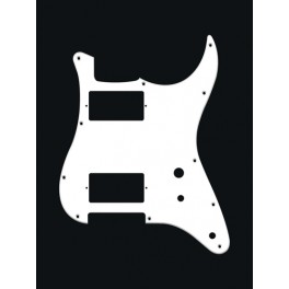 Pickguard Strat, 1 ply, white, HH, 2 pot holes, toggle switch