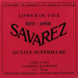 Savarez snarenset klassiek for lower octaaf, silverplated wound, scale 75 cm, normal tension