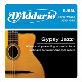 D'Addario Gypsy Jazz snarenset akoestisch, silverplated, light, 010-014-023-026-034-044