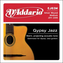 D'Addario Gypsy Jazz snarenset akoestisch, silverplated, medium, 011-015-024-029-035-045