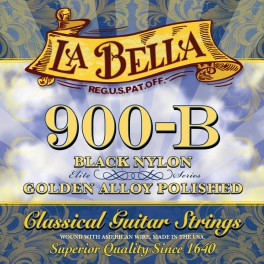 LaBella Golden Superior snarenset klassiek, black nylon trebles, gold polished basses, 028-032-040-030-0