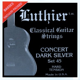 Luthier snarenset klassiek, Concert Dark Silver, hard tension